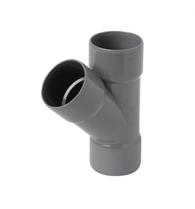 Wavin wadal pvc T 3xmof 45° grijs 75x75mm lijm