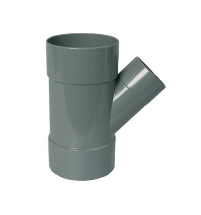Wavin wadal pvc verloop T 3xmof 45° grijs 75x40mm lijm