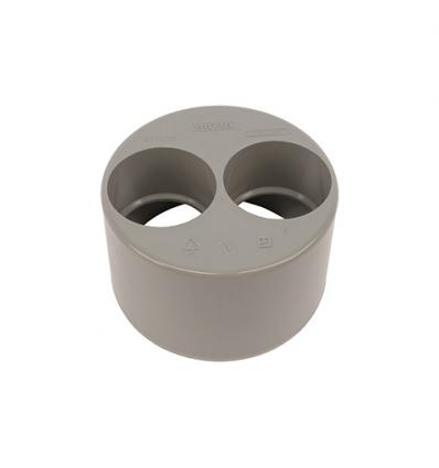 Wavin pvc dubbele inzetverloop (lijm) grijs 110x50x50mm