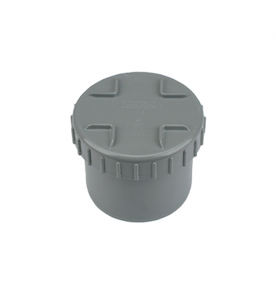 Wavin pvc eindstuk met schroefdeksel (lijm) grijs 75mm
