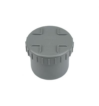 Wavin pvc eindstuk met schroefdeksel (lijm) grijs 90mm