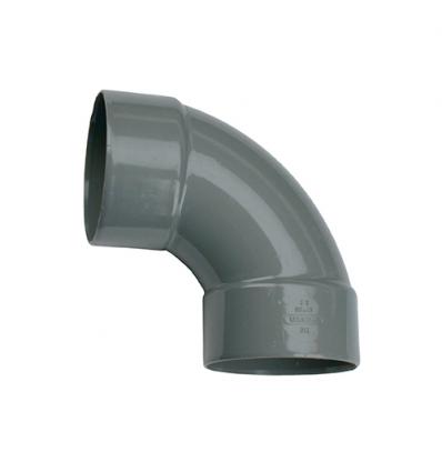 Wavin pvc bocht 2x mof 88° grijs 90mm