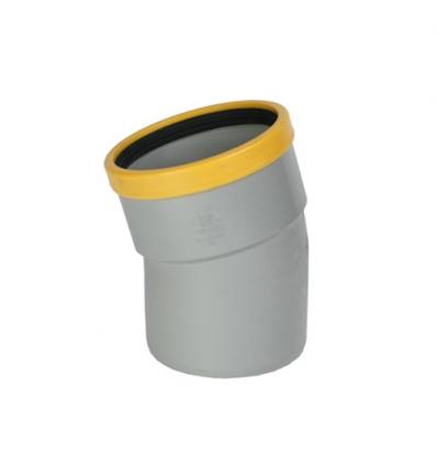 Wavin pvc bocht mof/spie 30° grijs 125mm